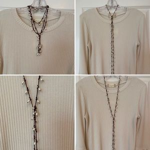 "Silpada 51"" leather/pearl/sterling wrap necklace"